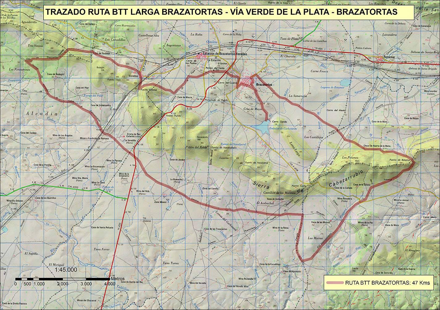 Ruta larga BTT Brazatortas -Vía Verde de la plata - Brazatortas