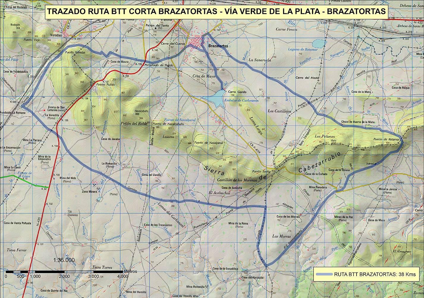 Ruta corta BTT Brazatortas -Vía Verde de la plata - Brazatortas